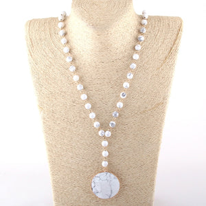 Rosary Chain Matching Stone Pendant Necklace