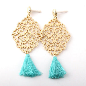 Metall Grid Links Tassel Earring