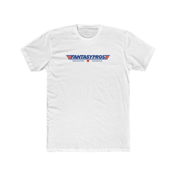 "A plain, white t-shirt that has a FantasyPros logo on the front of the shirt, with blue and red pilot stripes on either side of the logo. Underneath the logo is the phrase ""There are no points for second place"" in blue lettering with a red star in the middle of the words."