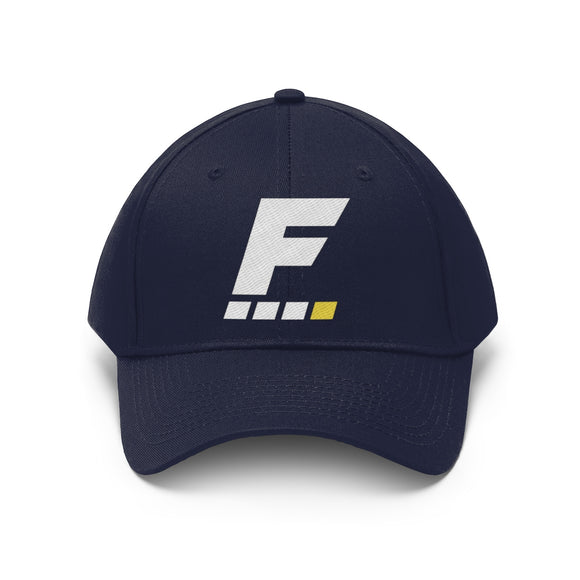"A navy-blue baseball cap with the FantasyPros ""F"" logo on the front. The picture is taken from the front."