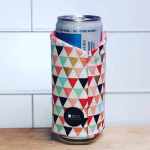 Pastel Triangles Skinny Can Coozie