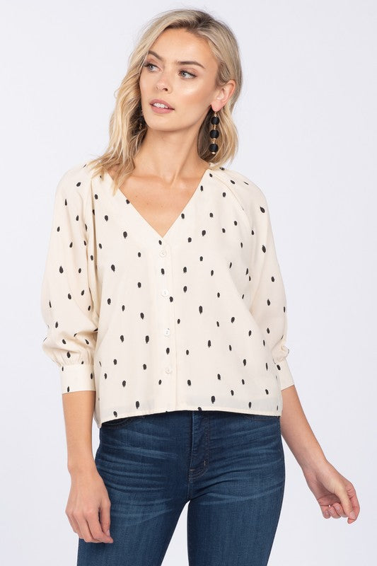 Dot Print Button Front Blouse