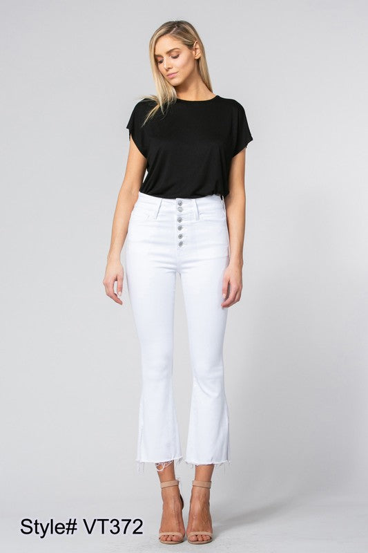 High Waisted White Flared Cropped Jeans - Terra Cotta