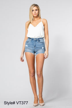 High Rise Criss Cross Side Denim Shorts - Terra Cotta