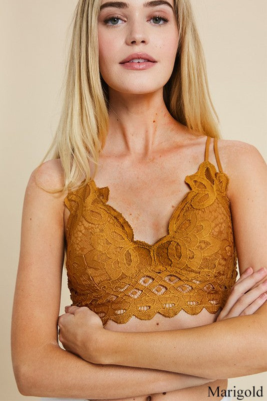 Marigold Double Strap Scalloped Lace Bralette