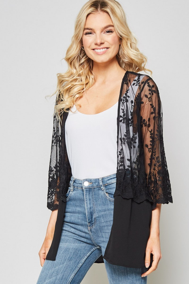 Black Chiffon Lace Cover-up