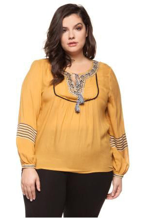 Mustard Long Sleeve Peasant Blouse w/ Embroidery Detail and Tassel