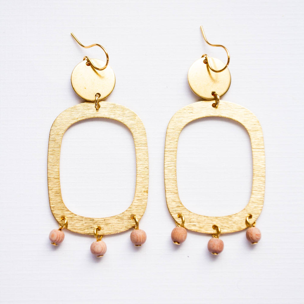 Nest Pretty Things - Big Brass and Sandalwood Earrings