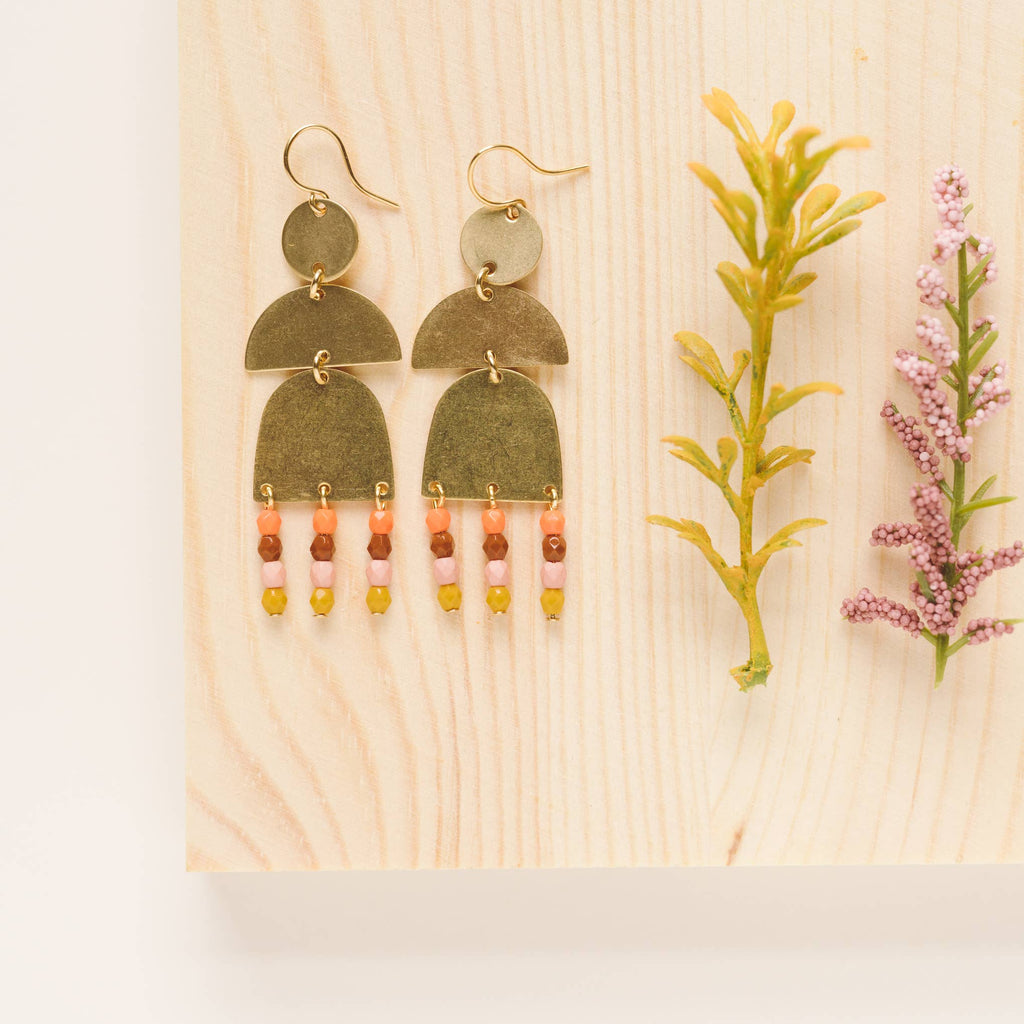 Nest Pretty Things - Brass and Bead Orange Fringe Earrings