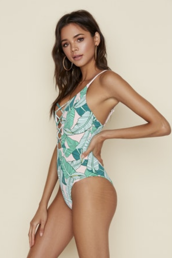 Palm Caged Front One Piece Swimsuit