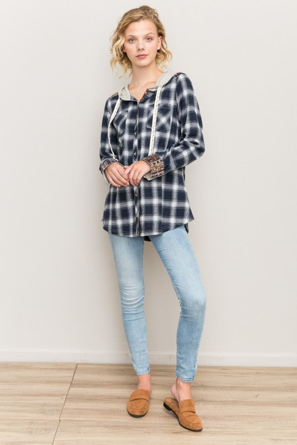 Blue Plaid Hoodie with Contrast Print