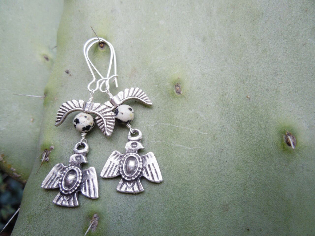 Topaz & Pearl - Thunderbird Earrings - Sterling Silver