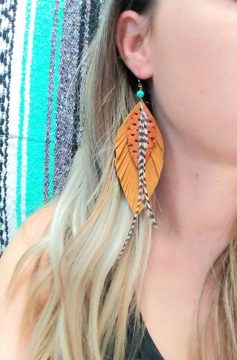 Fawn Leather Feather Earrings