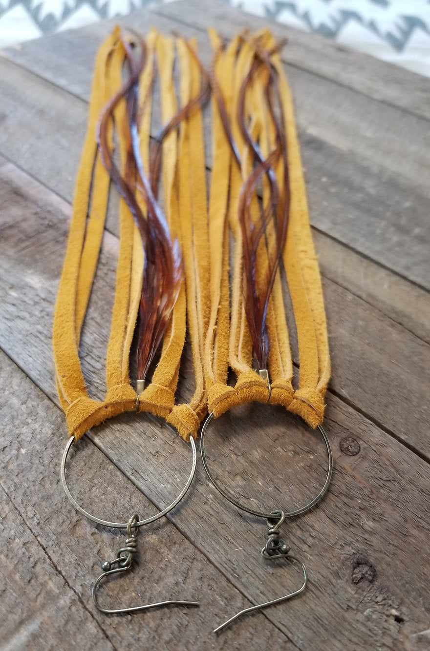 Mustard Fringe Leather Earrings