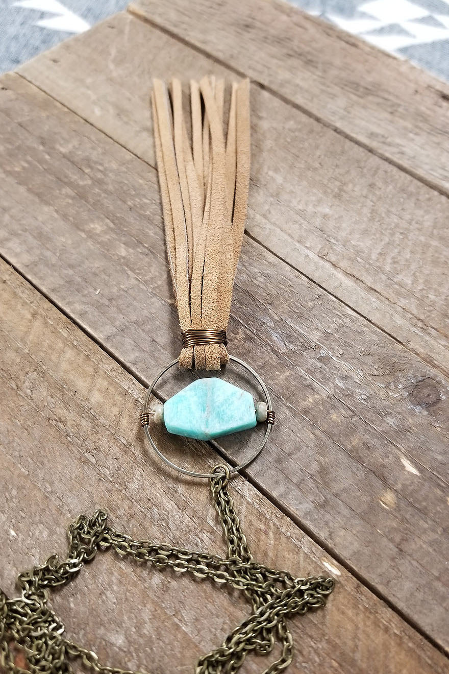 Amazonite Leather and Stone Necklace