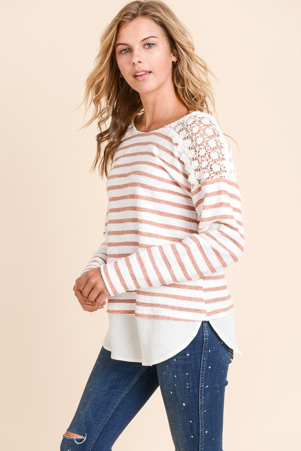 Apricot striped lace top with ribbon