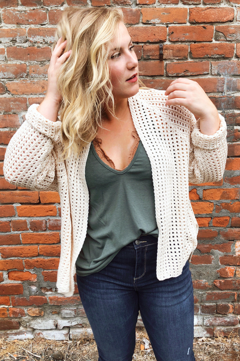 Neutral Open Knit Cardigan Sweater