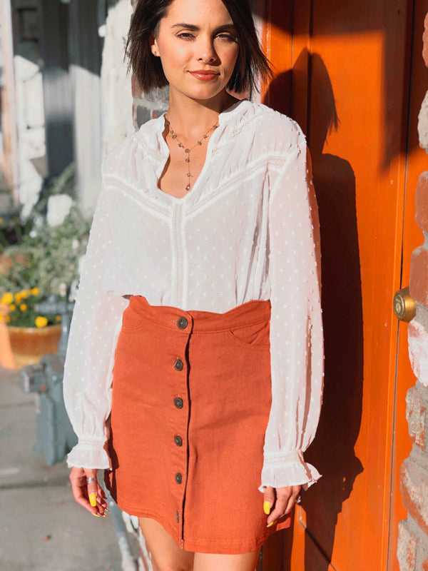 Cream Swiss Dot Blouse - Terra Cotta