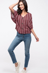 Burgundy Exposed Button Blouse