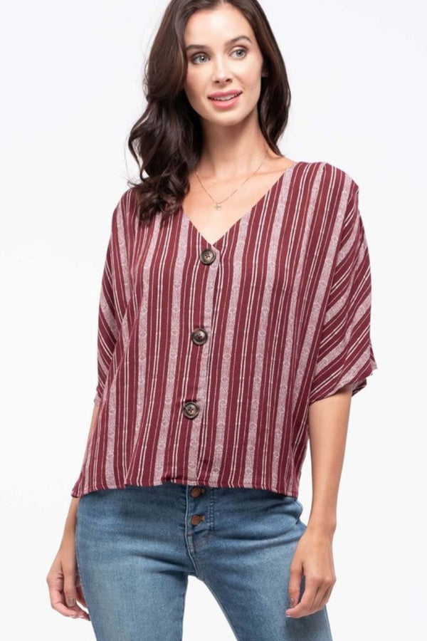 Burgundy Exposed Button Blouse Terra Cotta