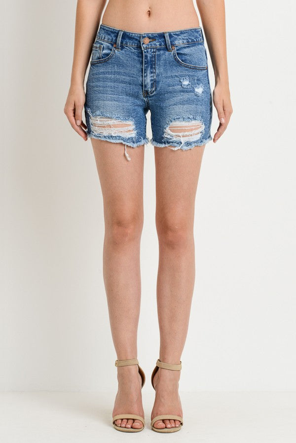 Mid Rise Distressed Shorts