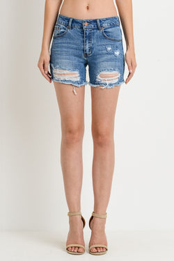 Mid Rise Distressed Shorts - Terra Cotta