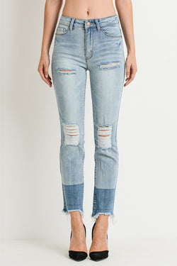 High Rise Light Wash Dipped Dye Hem Distressed Jeans - Terra Cotta