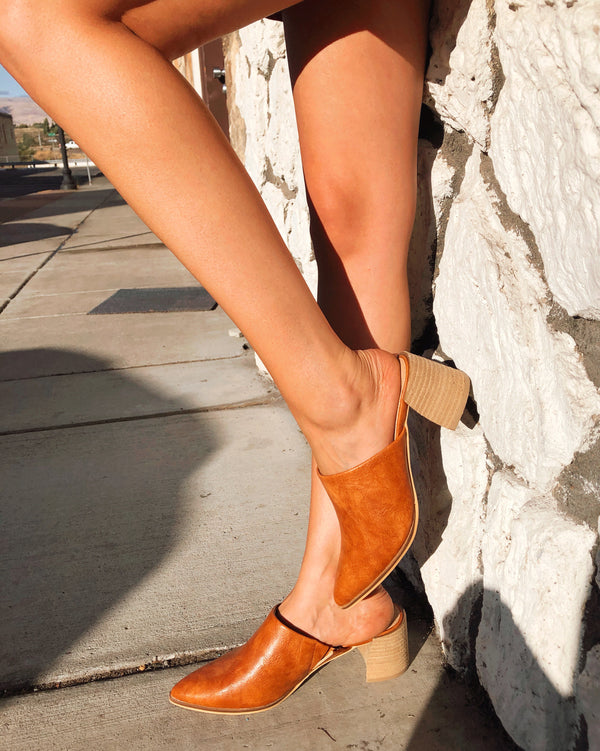 Camel Pointed Toe Mules - Terra Cotta