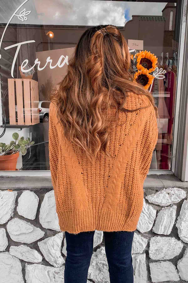 Caramel Cable Knit Sweater- Terra Cotta