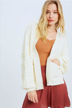 Cream Chunky Knit Cardigan Sweater Terra Cotta