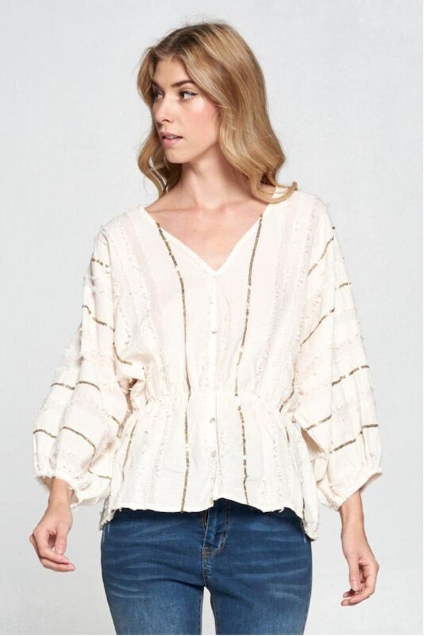 Cream Sequin Blouse Terra Cotta