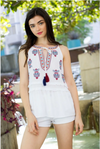 Embroidered Tunic Shirt with Tassel Tie