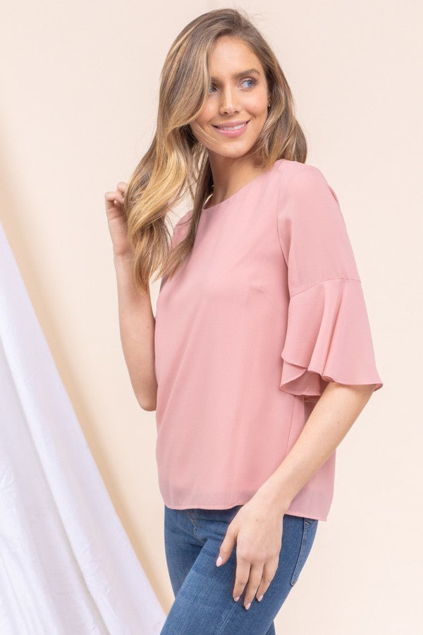 Pretty In Pink Flounce Sleeve Blouse