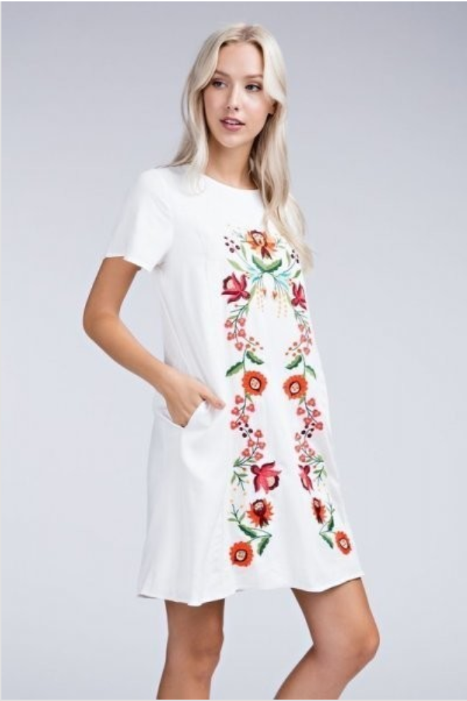 Floral Embroidered Ivory Shift Dress