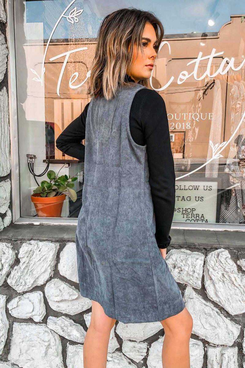Gray Corduroy Dress Terra Cotta