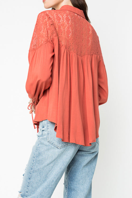 Salmon Lace Collared Button Up Blouse