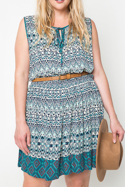 Plus Tribal Tank Dress - Terra Cotta