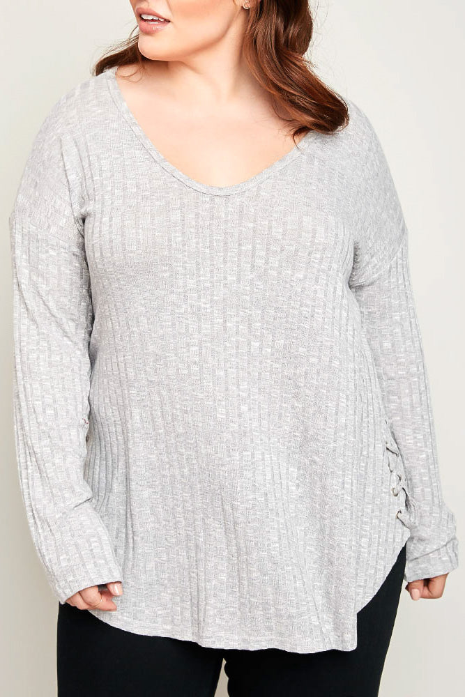 Silver Ribbed V-Neck Knit Long Sleeve Top