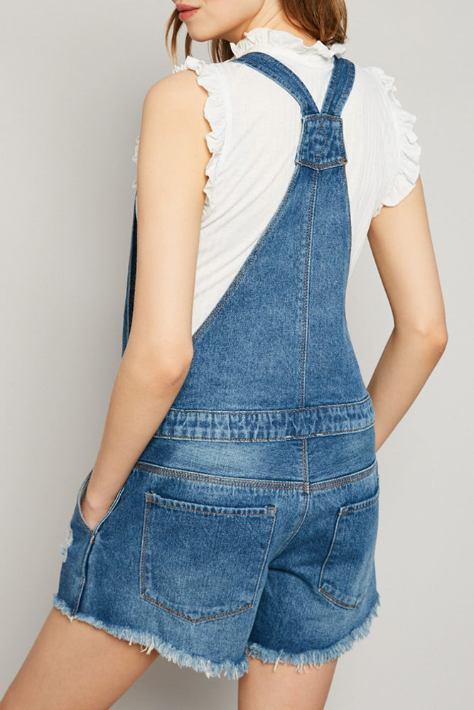 Denim Short Overalls - Terra Cotta