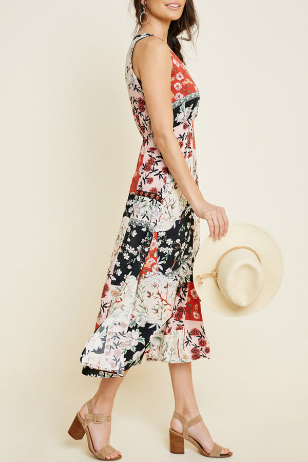 Red Floral Patchwork Dress - Terra Cotta