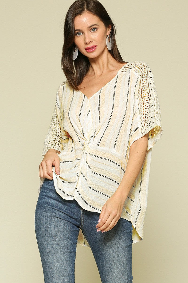 Yellow Striped Twist Blouse