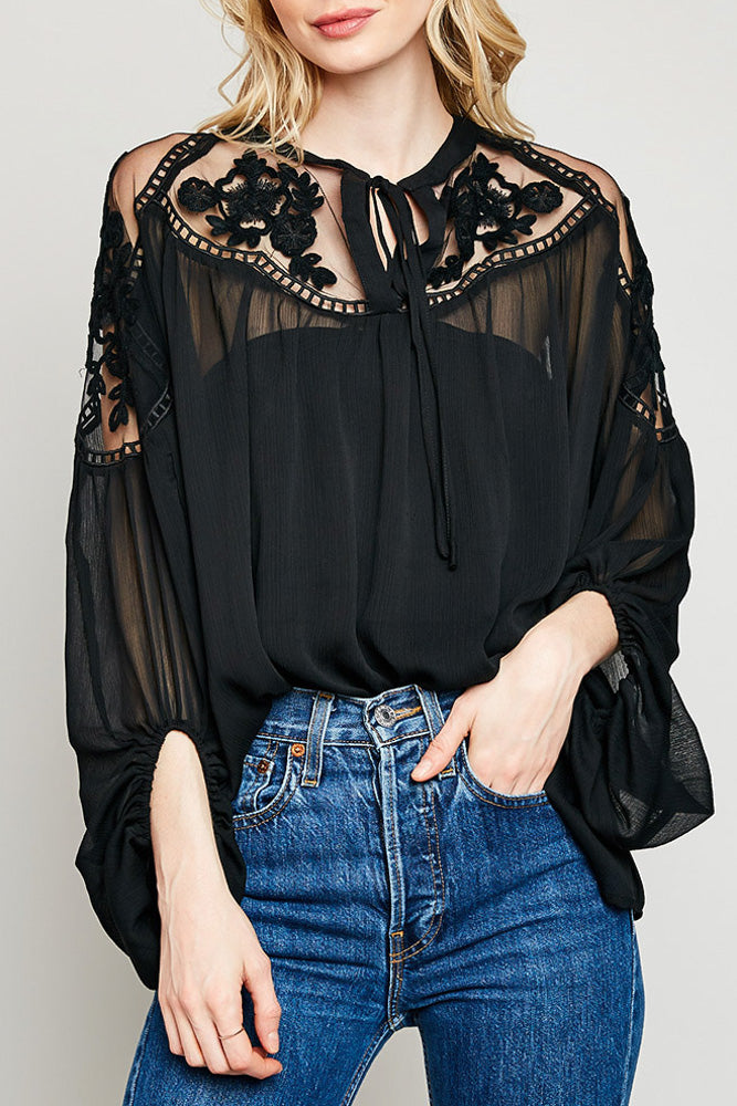 Black lace Peasant blouse close up front view