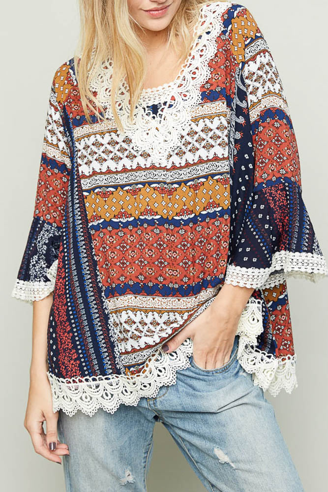 Oversized boho patch print top with lace front view