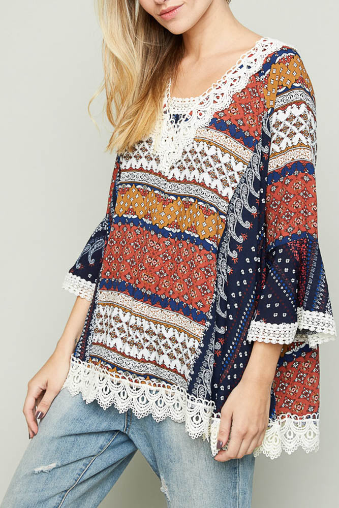 Oversized boho patch print top with lace side view