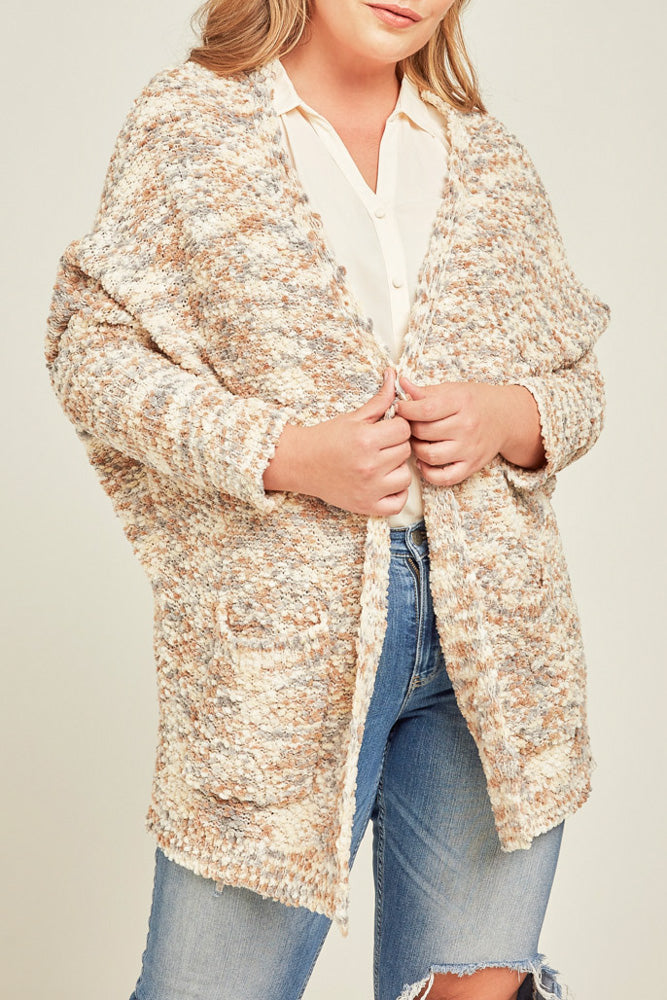 Plus size neutral toned pop corn sweater cardigan front view