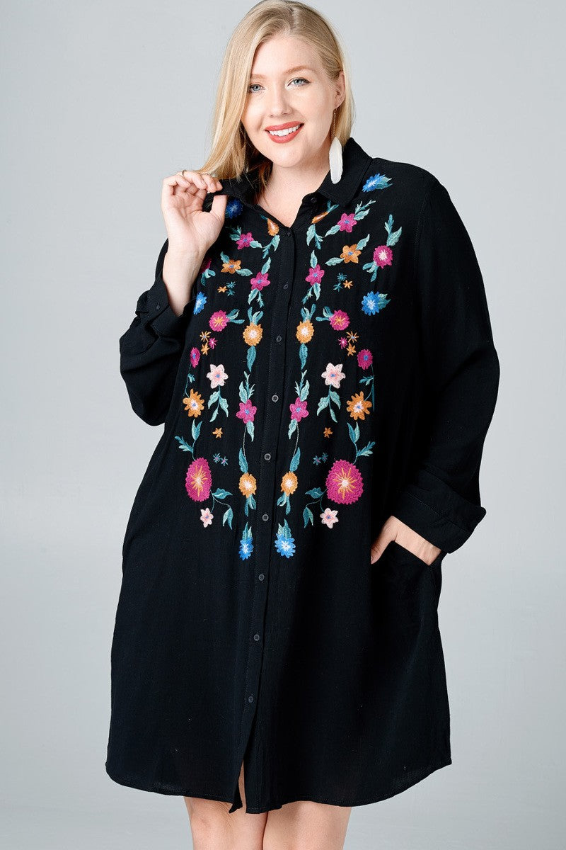 Floral Embroidered Button Up Collared Shirt Dress