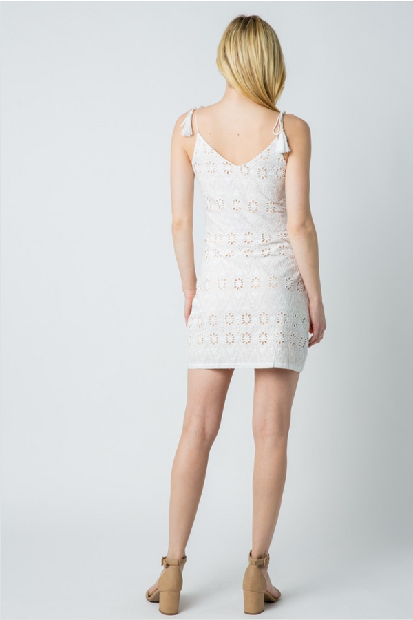 Ivory Crochet Eyelet Mini Dress - Terra Cotta