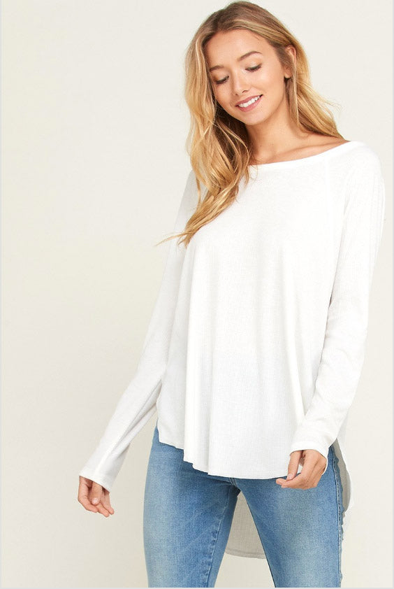Ivory Long Sleeve Basic Top Terra Cotta