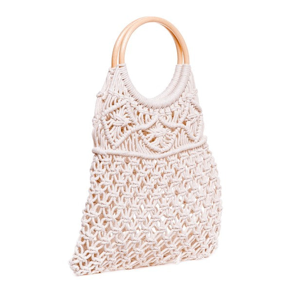 Macrame Bag with Wooden Handle- Ivory - Terra Cotta