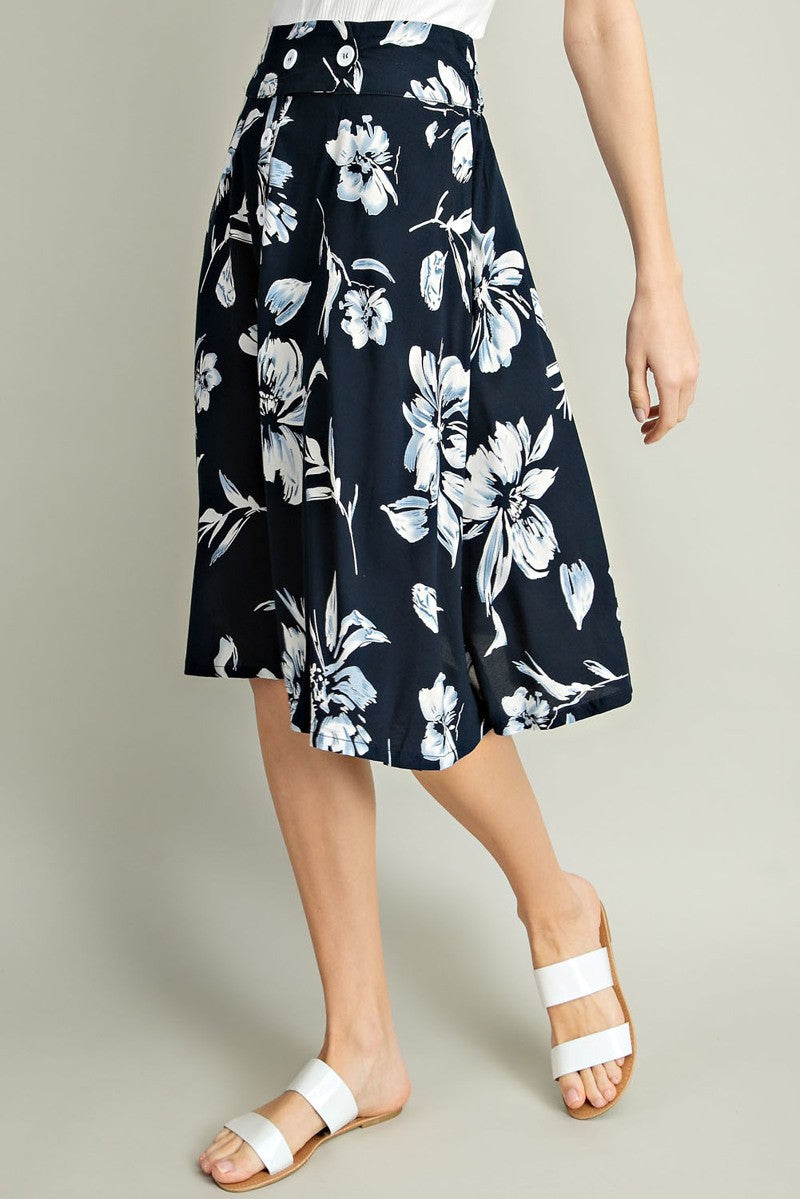 Deep Navy Floral Skirt